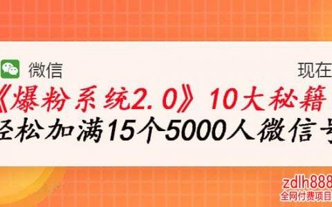 《爆粉系统2.0》王双雄,轻松加满15个5000人微信号,实现月入10万元+